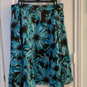 Apt. 9 brown and teal floral skirt wi to sequins